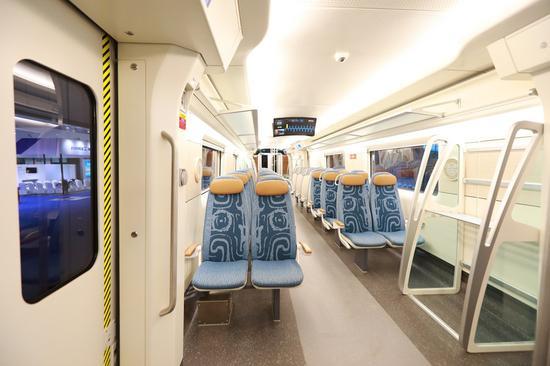 Photo shows inside of the Sanxingdui-themed self-driving train. (CRRC Changchun Railway Vehicles Co., Ltd./Handout via Xinhua)