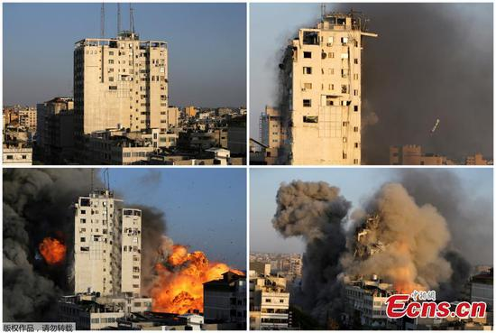 Tower building in Gaza destroyed in Israel's bombard