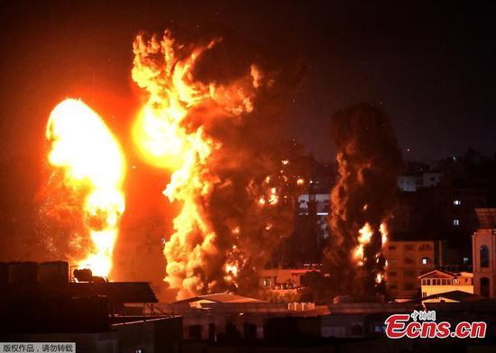 Buildings in Gaza destroyed in Israeli air attack