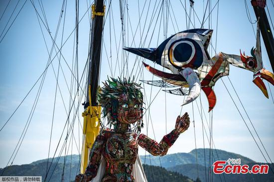 Giant puppet appears at Tokyo Olympics cultural event in Iwate