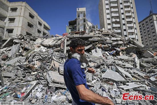 Buildings in Gaza destroyed after Israeli air strike