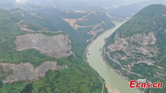 Mountain rocks beside Wujiang River reinforced