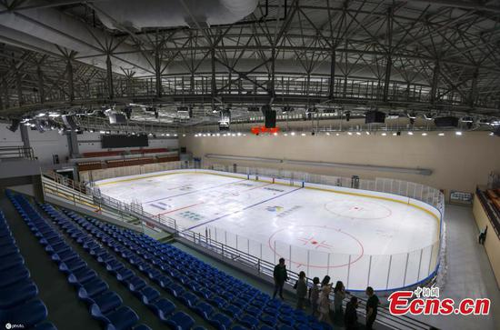 Asia's largest comprehensive single-building ice sports center completes ice making