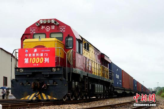 China-Europe freight trains starting from Xiamen reach 1,000 by June