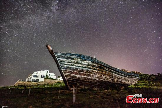 Charming night view of Golden Rock Bay in Shandong