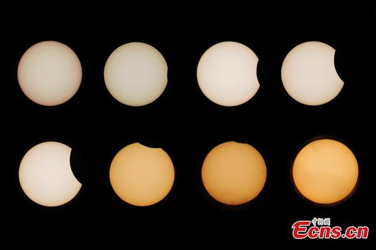 Partial solar eclipse appears over Xinjiang's Korla