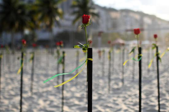 Red roses dot beach for Brazil's 500,000 COVID-19 deaths