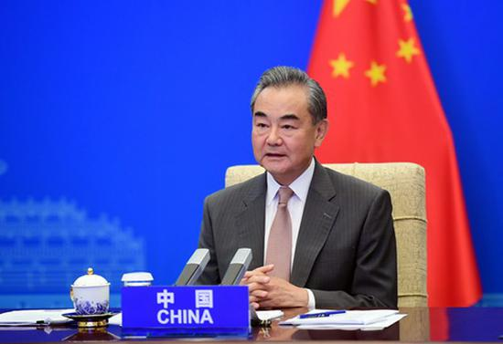 Chinese State Councilor and Foreign Minister Wang Yi speaks at the G20 Foreign Affairs Ministers' Meeting via video link in Beijing, June 29, 2021. (Photo/fmprc.gov.cn)