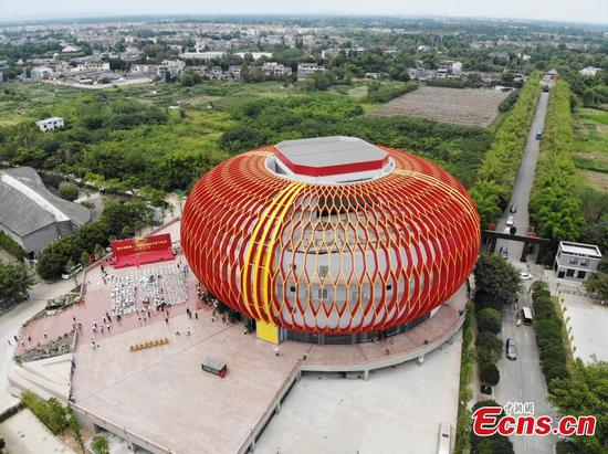 Exhibition hall resembling Chinese lantern in Sichuan opens to visitors