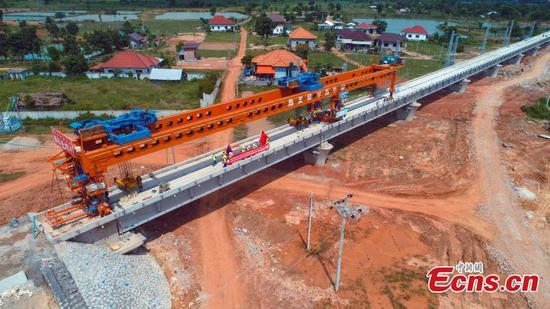 Construction of longest bridge along China-Laos Railway completed