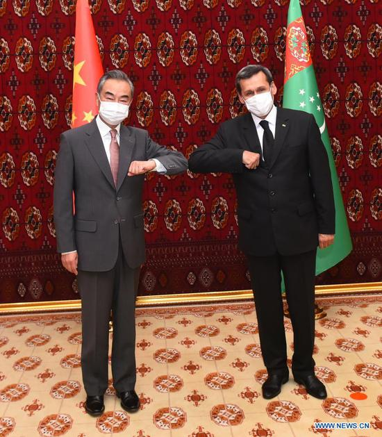 Visiting Chinese State Councilor and Foreign Minister Wang Yi (L) holds talks with Turkmen Deputy Prime Minister and Foreign Minister Rashid Meredov in Ashgabat, Turkmenistan, July 12, 2021. (Xinhua)