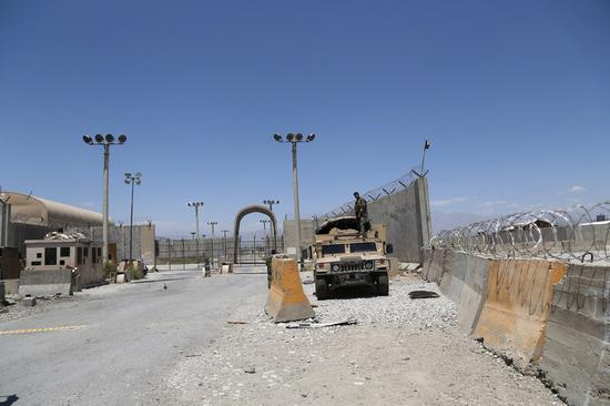 Photo taken on July 2, 2021 shows the gate of Bagram Airfield after all U.S. and NATO forces evacuated in Parwan province, eastern Afghanistan. (Photo by Sayed Mominzadah/Xinhua)