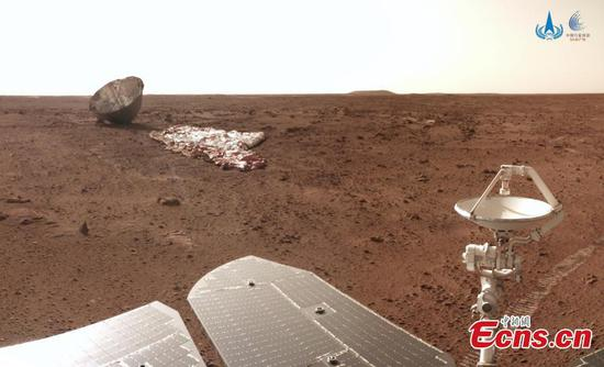 China's Mars probe Zhurong takes photos of parachute and back shell
