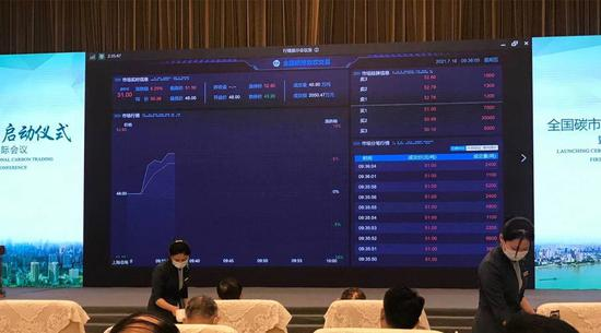 The inauguration ceremony of China's national carbon market is held in Wuhan, Central China's Hubei province, on July 16, 2021. (Photo provided to chinadaily.com.cn)