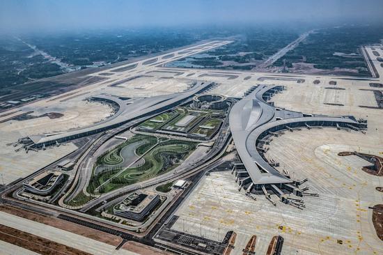 A bird's-eye view of Chengdu Tianfu International Airport, on May 31, 2021. (Photo/Xinhua)