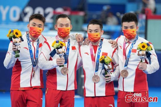 China's artistic gymnastic men's team wins bronze at 2020 Tokyo