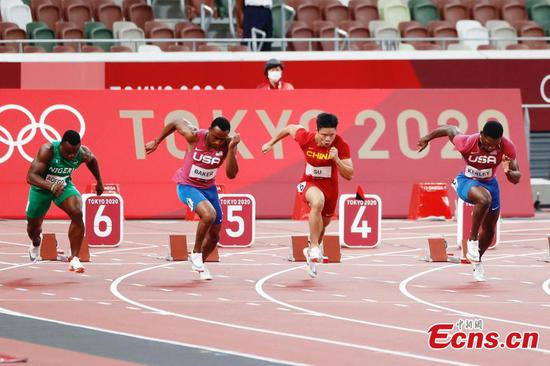 China's Su makes history for finishing 6th in men's 100m final at Tokyo Olympics