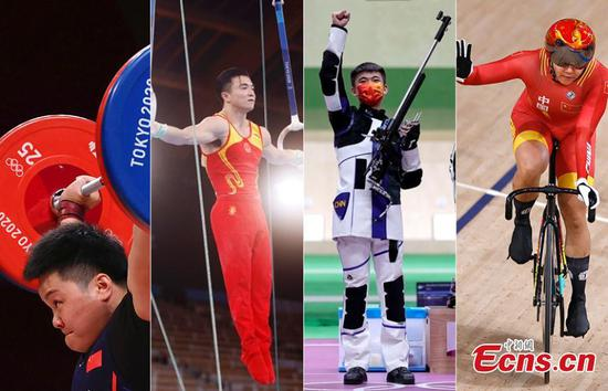 China speed: Team China win four gold medals in one hour at Tokyo Olympics