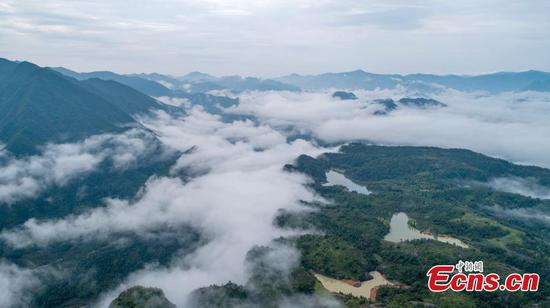 Mist and clouds hover over Xianju County in Zhejiang