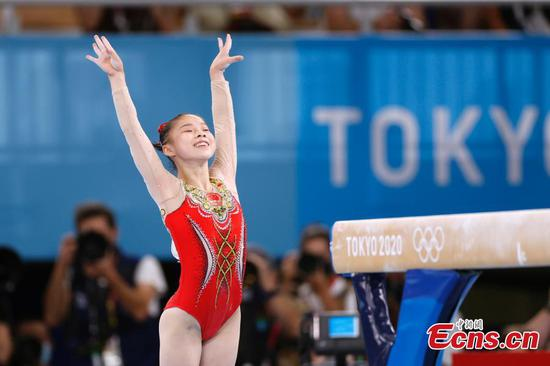 Chinese gymnast Guan Chenchen wins gold in balance beam at Tokyo Olympics