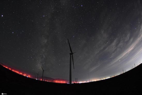 Spectacular starry night sky in Urumqi, Xinjiang