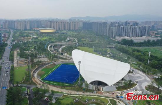 Aerial view of 2022 Asian Games' hockey stadium