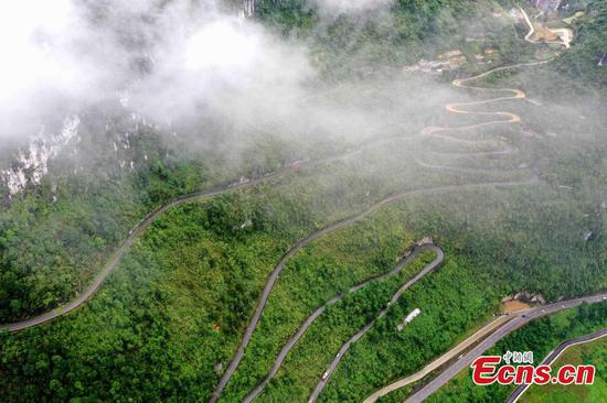 Aerial view of highways constructed in mountains of Guangxi
