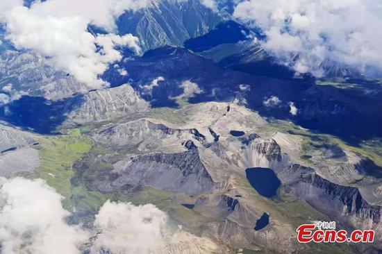 Aerial view of splendid scenery in SW China's Tibet