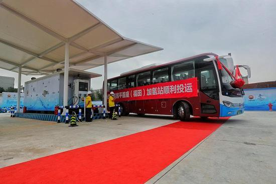 Futian hydrogen refueling station for the 2022 Winter Olympics was put into operation on Sunday. (Photo/China News Service)