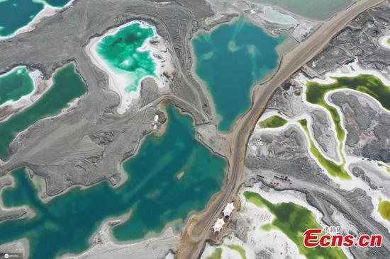 Aerial view of jewel-like Emerald Lake in NW China's Qinghai
