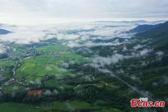 Expressway runs across picturesque field in Jiangxi