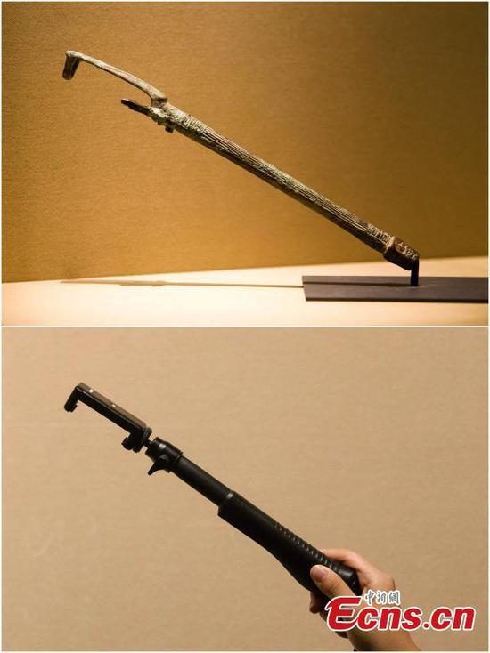 Selfie-stick shaped ancient horsewhip holder goes viral