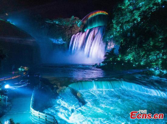 Light & Shadow show adds charm to Huangguoshu Waterfall in Guizhou