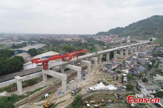 Box girders erected on sections of Indonesia's Jakarta-Bandung High Speed Railway