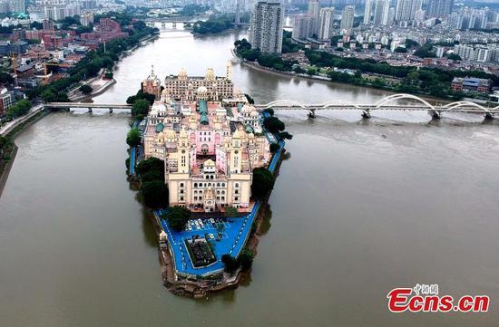 Aerial view of Zhouzhou island in Fuzhou