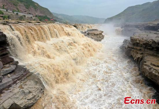Aerial view of magnificent Hukou Waterfall