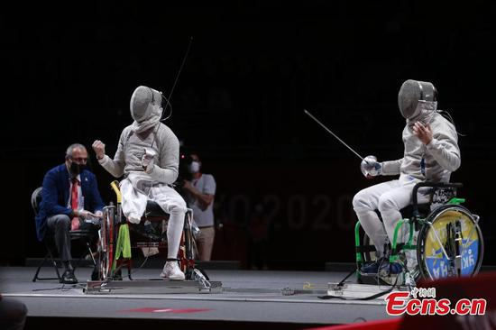Wheelchair fencer Li Hao claims first gold for China at Tokyo Paralympics