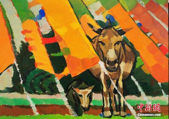 Oil paintings show charming Tibetan scenery