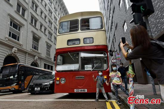 Retired Jumbo bus shuttles at Hong Kong to promote conservation