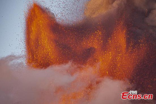 Mount Etna erupts and spews hundreds of meters lava into air