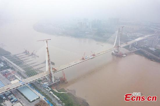 World's longest span road-rail cable-stayed bridge connected