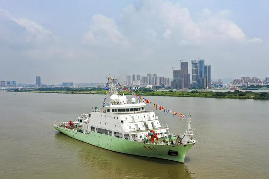 Oceanographic research vessel makes its maiden voyage from Guangzhou