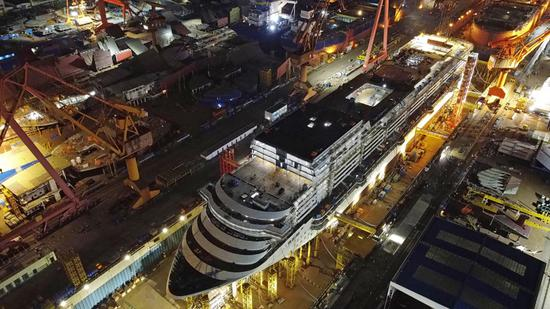 Aerial view of China's first large cruise ship