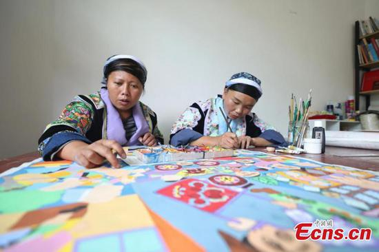 Miao paintings improves local lives in Guizhou
