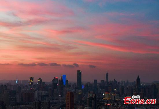 Gorgeous sunset glow in Nanjing