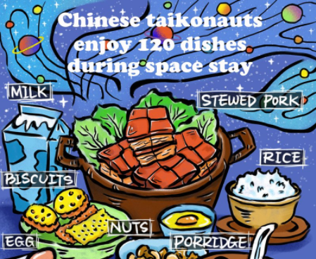 Chinese taikonaunts enjoy 120 dishes during space stay