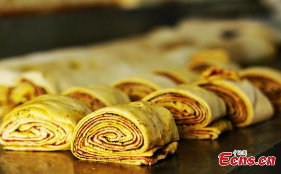 Traditional multi-layer mooncakes prepared in NW China's Gansu