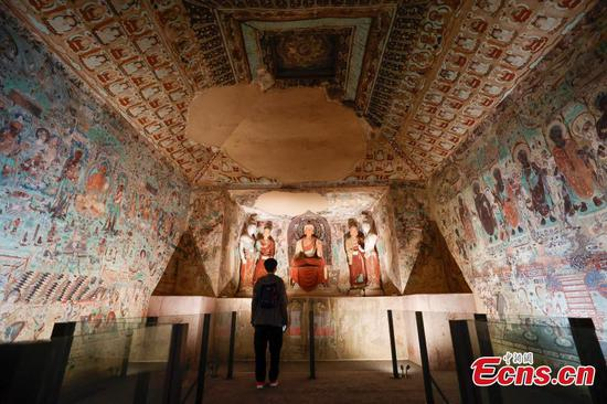 Three replica grottoes exhibited at Palace Museum in Beijing