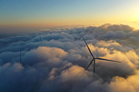Wind turbines provide new ecological scenery in central China's Yongzhou