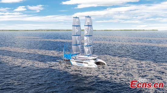 Giant hybrid sailboat reinforces battle against ocean plastics pollution